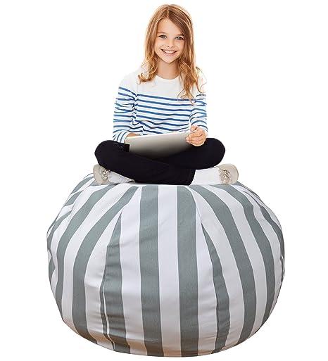 Stuffed Animal Storage Bean Bag U2013Extra Large Organization Sack Chair   Premium Quality Cotton Canvas