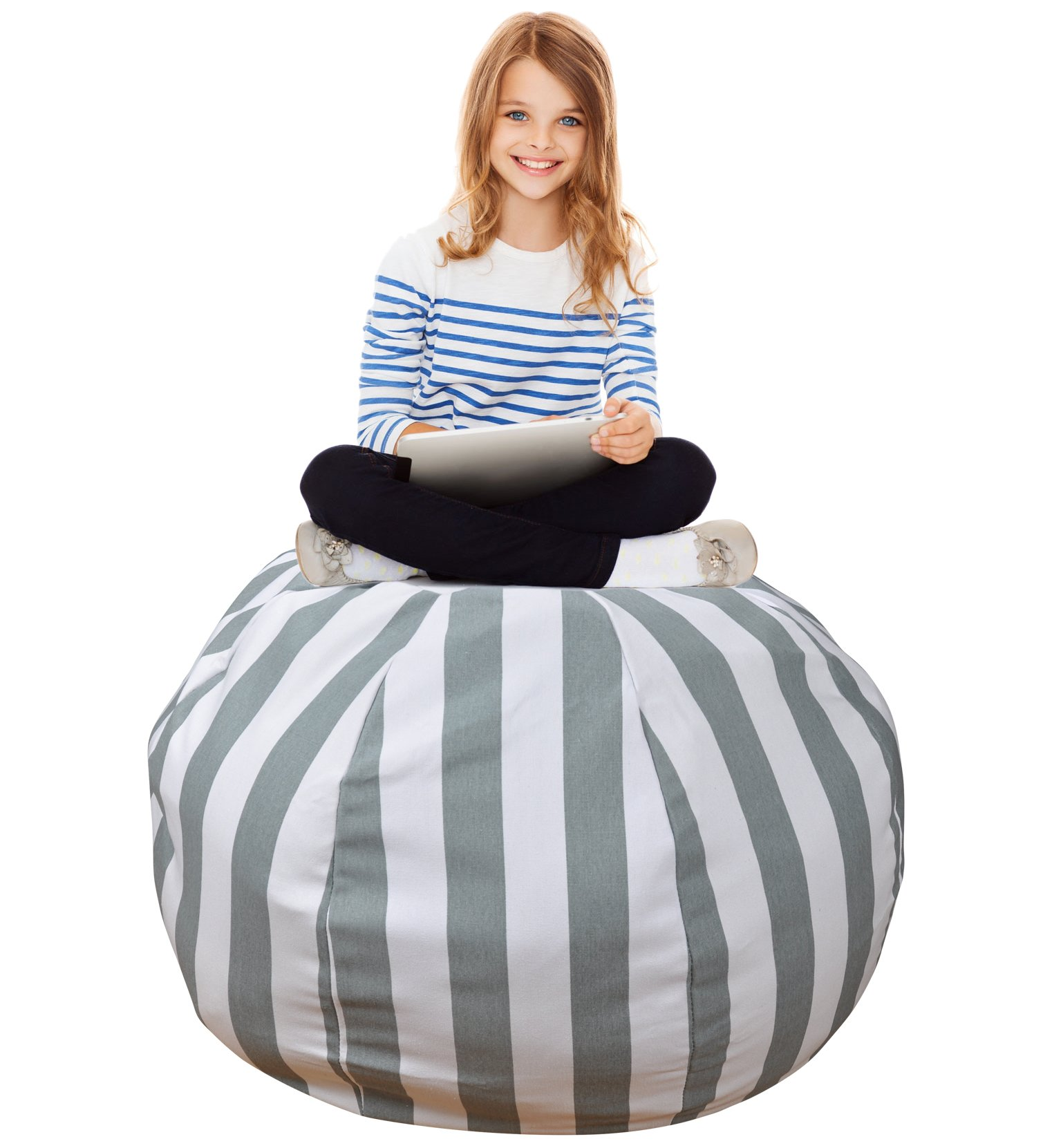 Stuffed Animal Storage Bean Bag –Extra Large Organization Sack Chair- Premium Quality Cotton Canvas- Easy Solution for Extra Toys / Blankets / Covers / Towels / Clothes -38 inches, Grey Striped
