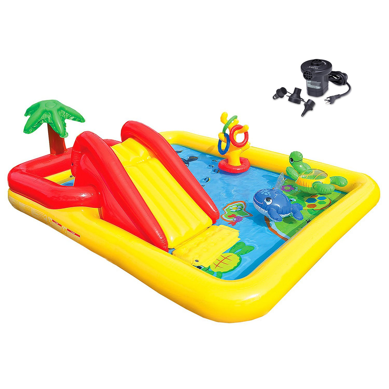 Intex Ocean Play Center Kids Inflatable Wading Pool + Quick Fill Air Pump by Intex (Image #1)