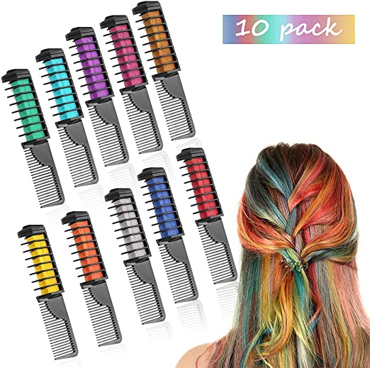 Peines de Tiza de Colores para el Pelo 10 colores temporales de cabello Tinte no tóxico Color de Tiza para niñas y niños Pelo teñido, Fiesta, Navidad ...