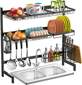 Over Sink Dish Drying Rack, GSlife Stainless Steel 2 Tier Dish Rack Above Kithen Sink Shelf with Utensil Holder, Cutting Board, Black