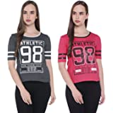 Ajile by Pantaloons Women's Floral Regular Fit T-Shirt (Pack of 2)