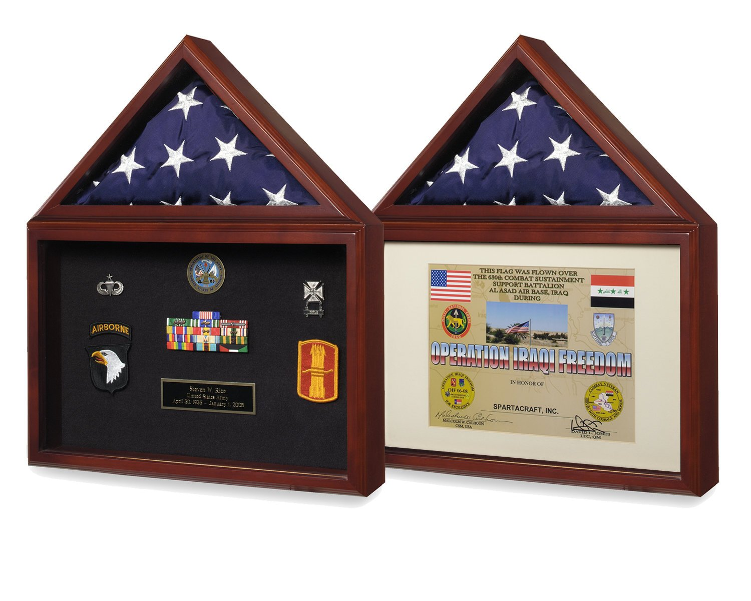 Reversible American Capitol Flag & Certificate Display Case Shadow Box for 3X5 USA Flag & 8.5X11'' Official Paper Document or Medals Showcase For Government Army Navy Air Force Coast Guard Marine Corps by SpartaCraft