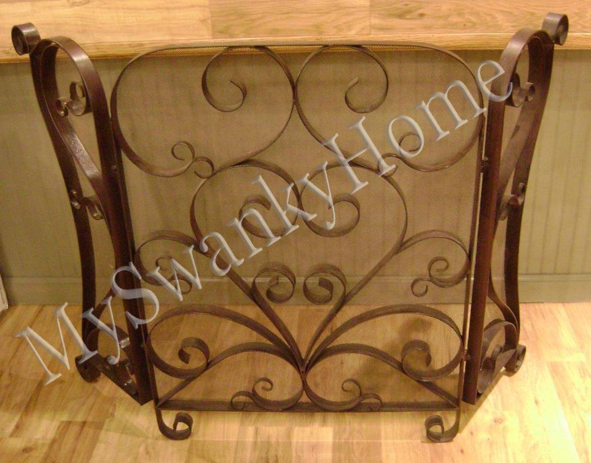 amazon com classic scroll iron fireplace screen home u0026 kitchen