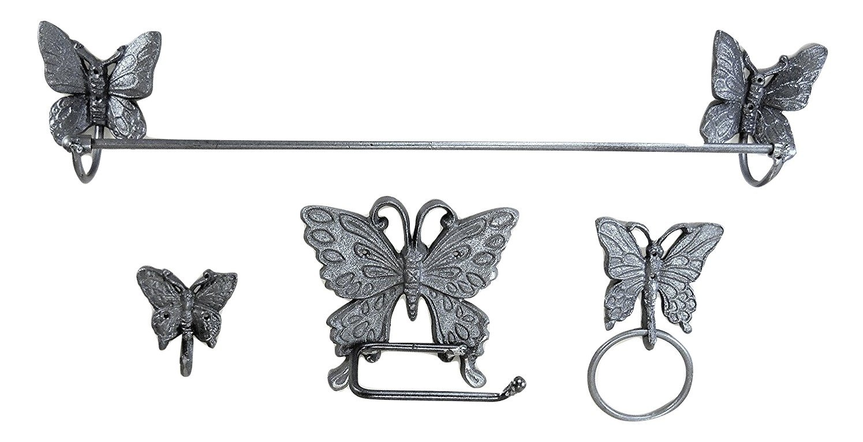 Lori's Butterfly Bath Assessory Set Cast Iron 4 pc with hardware