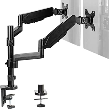 VIVO Dual Monitor Arm Mount for 17 to 32 inch Screens - Pneumatic Height Adjustment, Full Articulating Tilt, Swivel | Heavy Duty VESA Stand with Desk C-clamp and Grommet Option (STAND-V002K)