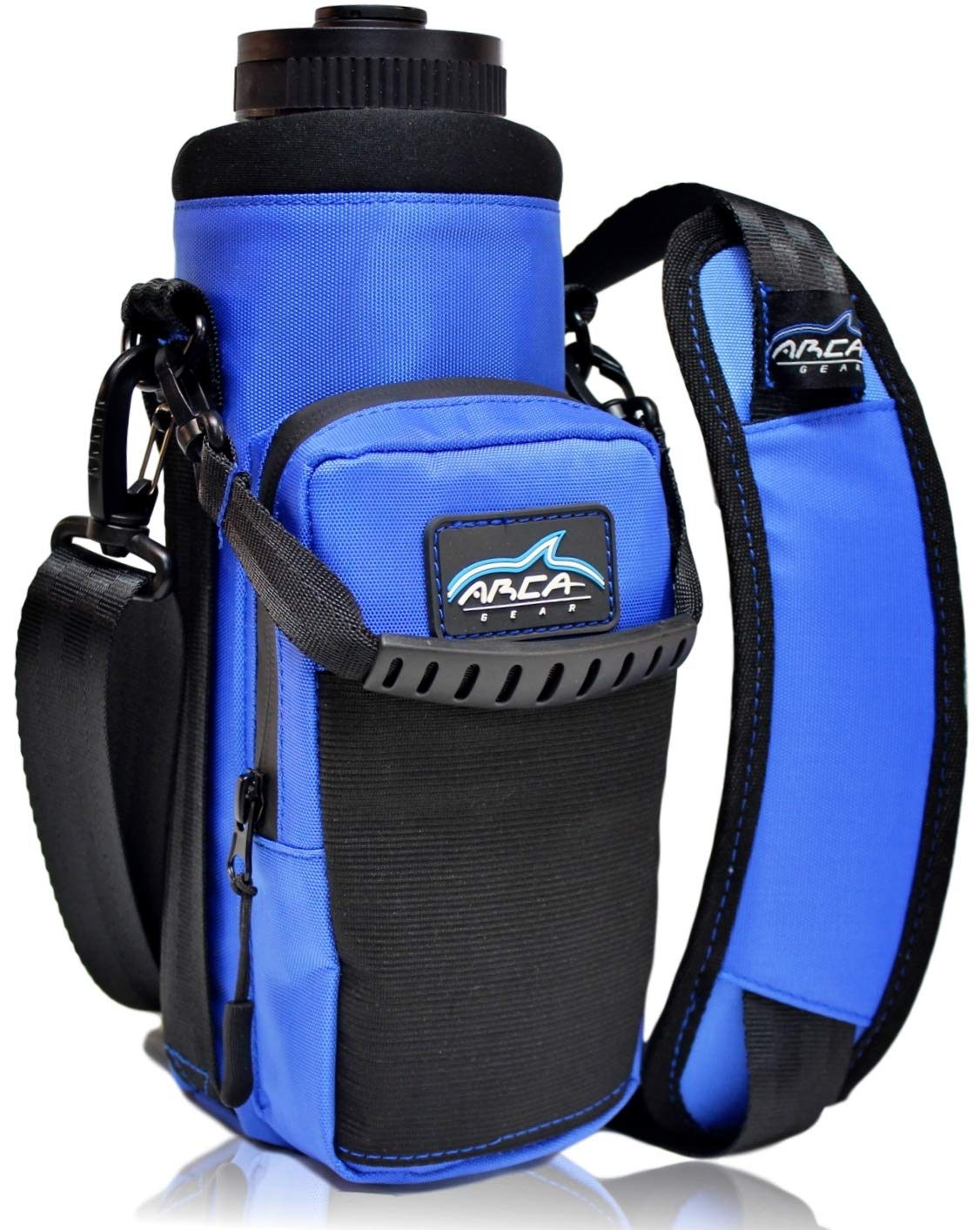 Arca Gear 40 oz Hydro Carrier - Insulated Water Bottle Sling w/Carry Handle, Shoulder Strap, Wallet and Two Pouches - The Perfect Flask Accessory - Deep Blue by Arca Gear