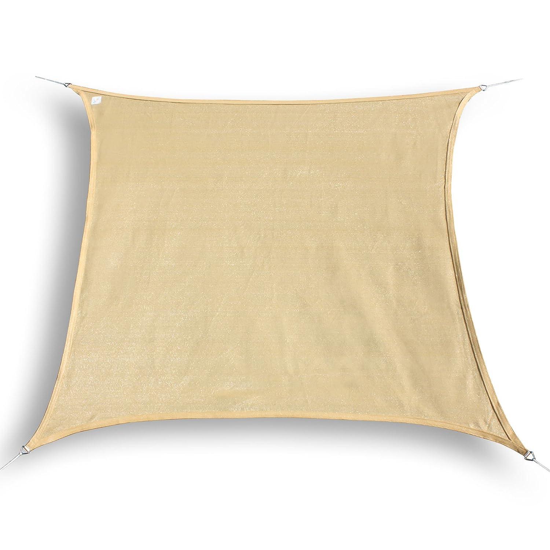 HanSe® Marken Sonnensegel Sonnenschutz Segel Quadrat 7x7 m Sand