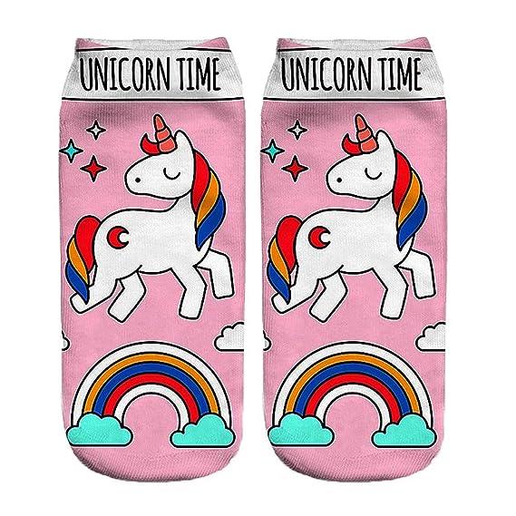 Funky Calcetines Modelo Animal 3d Impresión linda de calcetines cortos ocasionales para mujer Calcetines unicornio niñas