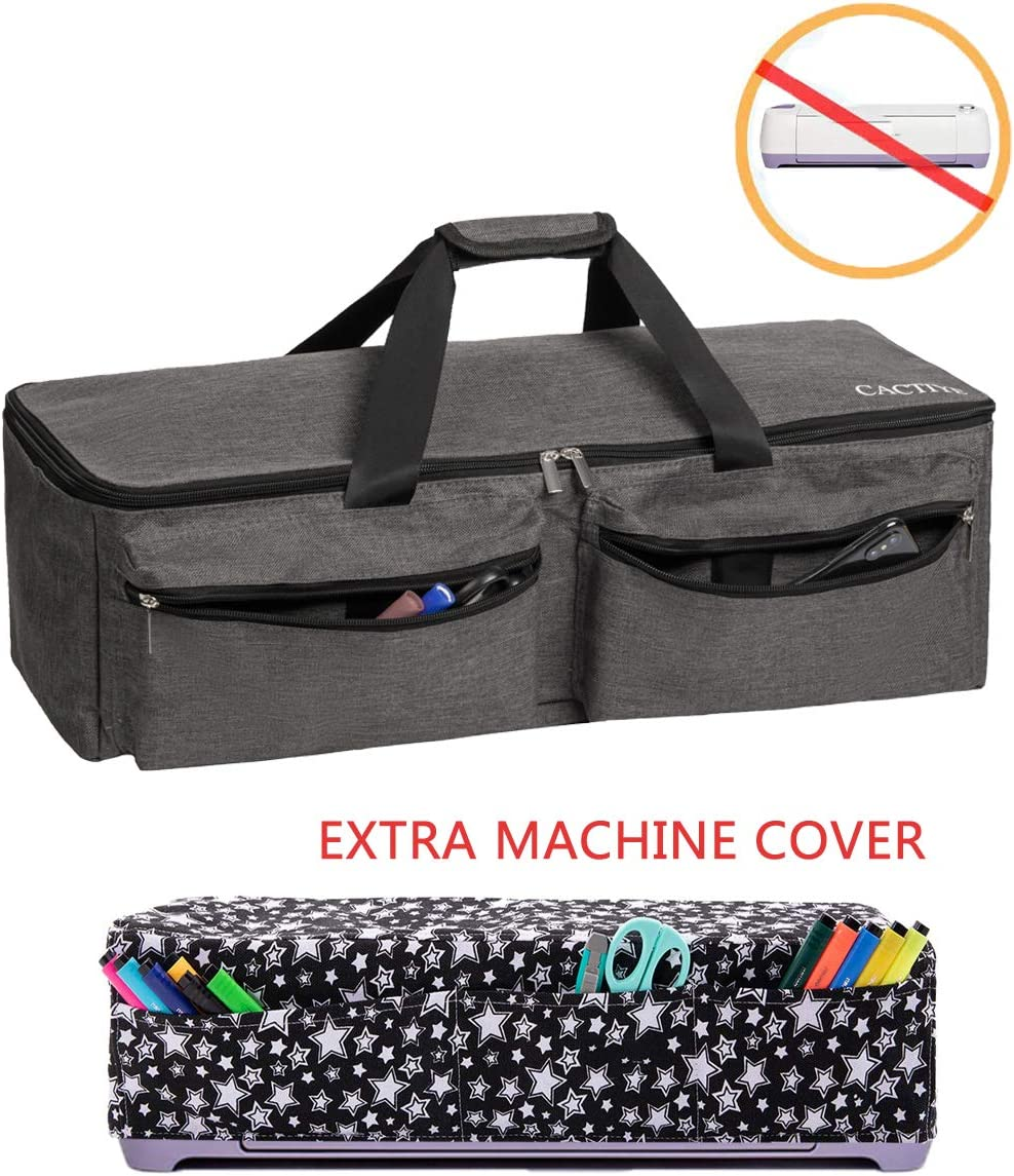 Waterproof Tote Bag Compatible with Cricut Explore Air and Supplies CACTIYE Carrying Bag Compatible with Cricut Explore Air and Maker Black, 1+1