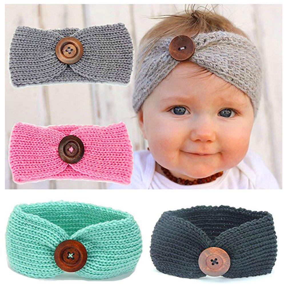6 Pack Baby Girl Cute Headbands Knit Crochet Turban Warm Headwrap Bowknot Band