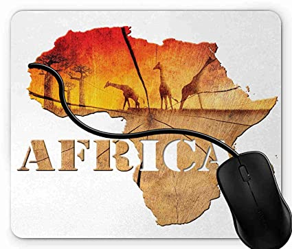 Amazon.: Mouse Pad Africa Map with Wood Tree Texture and