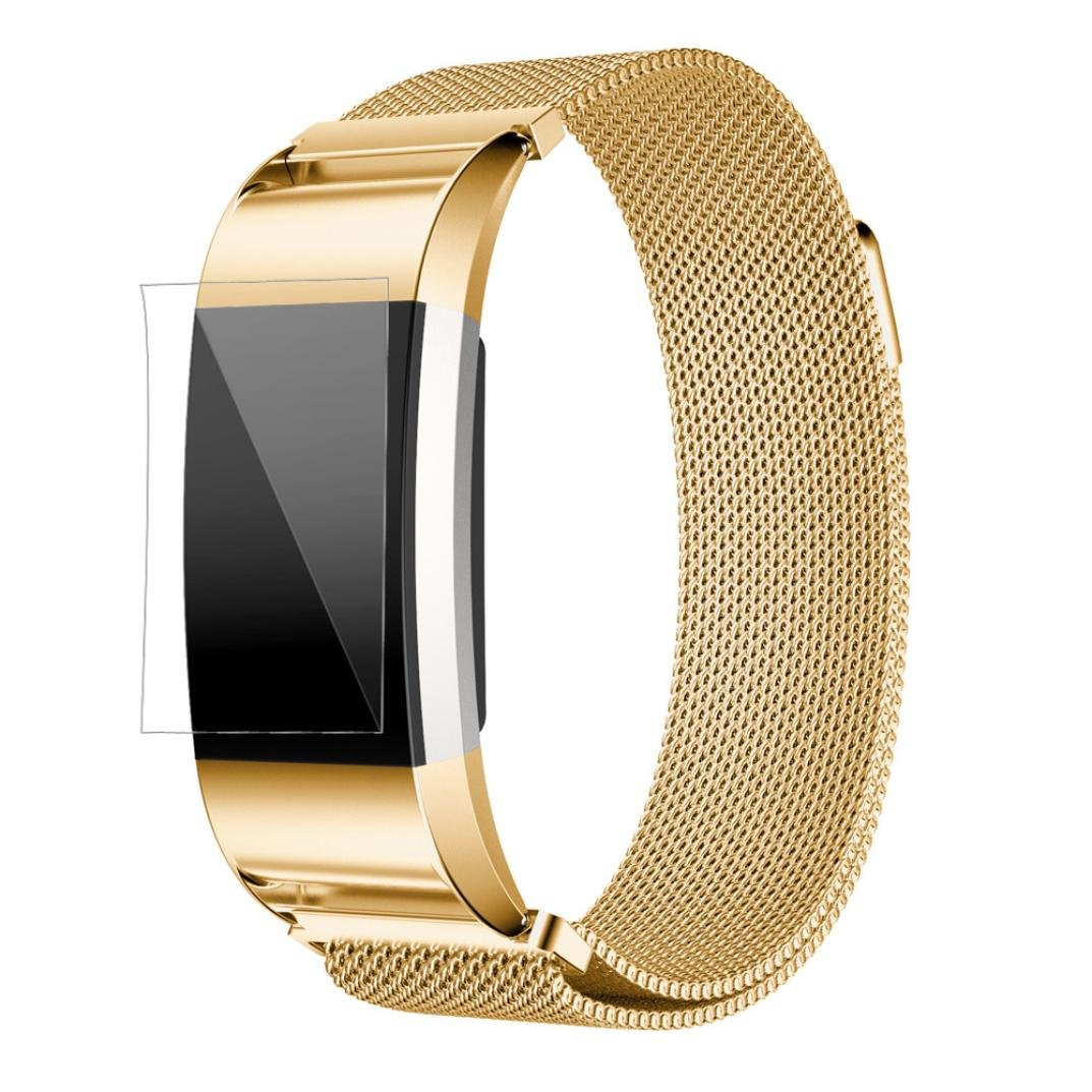 Binmer(TM) Milanese Stainless Steel Watch Band Strap Bracelet + HD Film For Fitbit Charge 2 (Gold)