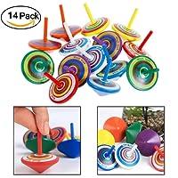 VanseRun 14 pezzi Trottola in Legno, Mini Giroscopio in Legno Colorati Artigianali Set per Bambini Giocattolo Partito (Colore Casuale)