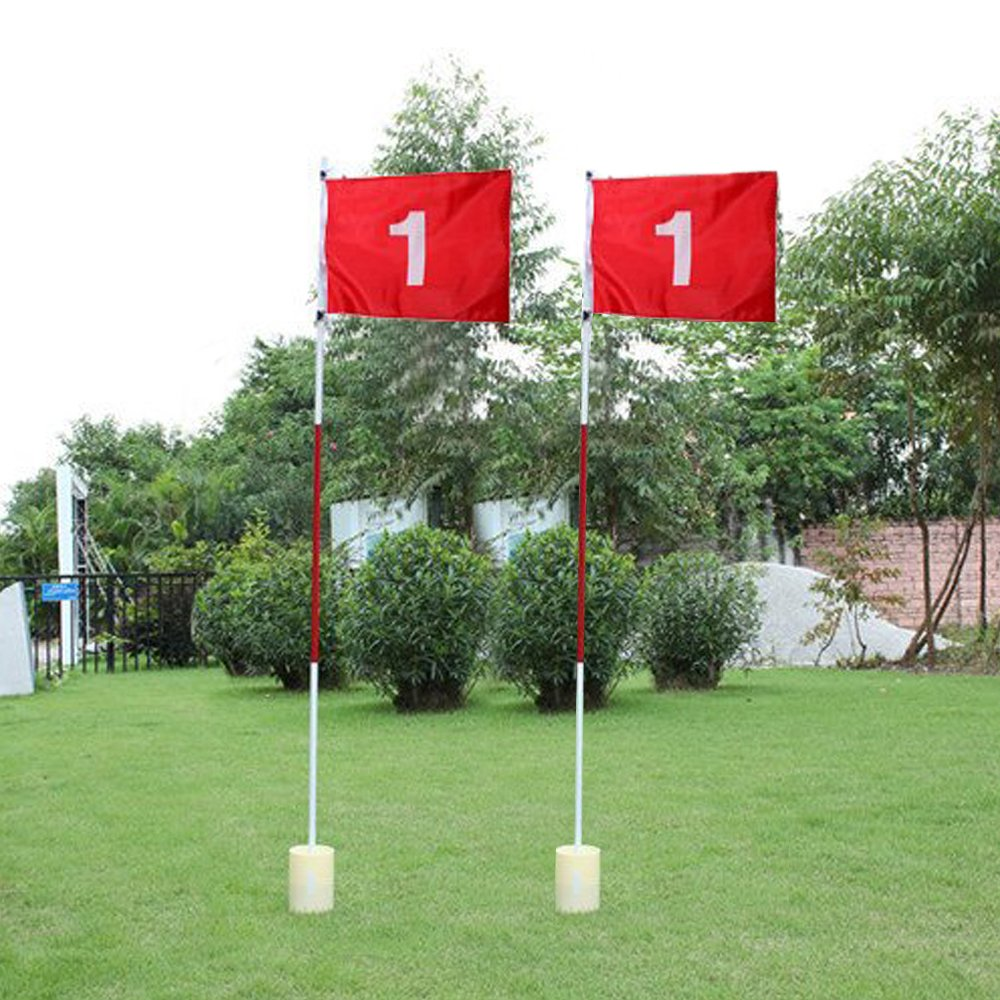 Boshen 2 Pack Practice Golf Putting Green Flags with Cup Backyard Golf Flagstick by Boshen