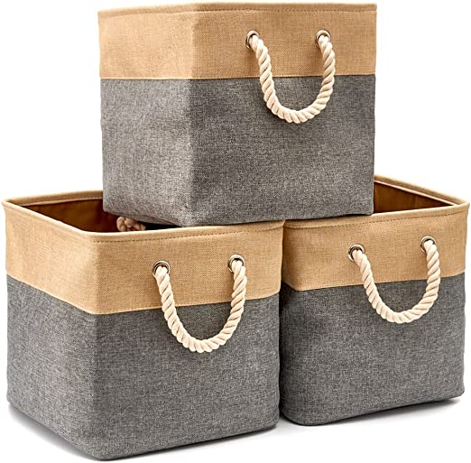 EZOWare Cajas de Almacenaje, 3 Pcs Cesta Organizador Cubos de Tela ...