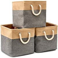 EZOWare Set of 3 Foldable Storage Cube Boxes, Collapsible Fabric Tweed Storage Cubes with Cotton Handles for Home Office…