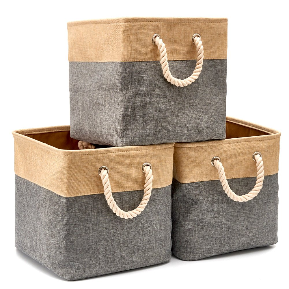 Collapsible Storage Bin Cube Basket [3-Pack] EZOWare Foldable Canvas Fabric Tweed Storage Bin Set with Handles - Gray for Home Office Closet (13 x 13 x 13 inches) (Gray/Beige)