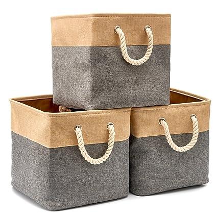 EZOWare Cajas de Almacenaje, 3 Pcs Cesta Organizador Cubos de Tela Plegable con Manijas para
