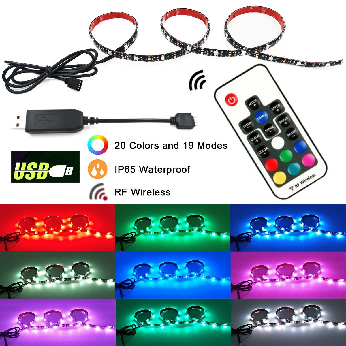 RGB USB LED Strip Light - 3.28FT Flexiable Waterproof Multicolor LED Bias Lighting TV Backlight with RF Remote Controller No Dead Control Angle for HDTV, Flat Screen TV, Desktop PC