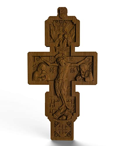 Wood Cross Our Father 4 Inch Byzantine Pectoral Cross Natural Oak Orthodox Crucifix Christian Wood Carving Easter Religious Gift Wood Cross Car Charm