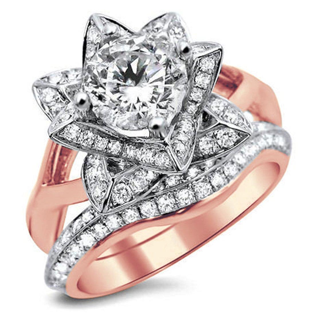 Smjewels 1.60 Ct Round Sim.Diamond Lotus Flower Engagement Ring Bridal Set In 14K Rose Gold Fn