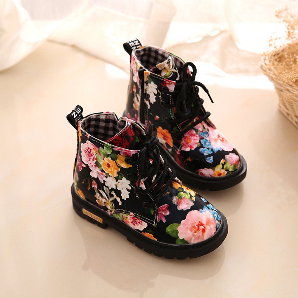 Lurryly Baby Kids Girls Martin Boots,Fashion Floral Shoes Children Boots 1-6 T by Lurryly (Image #2)