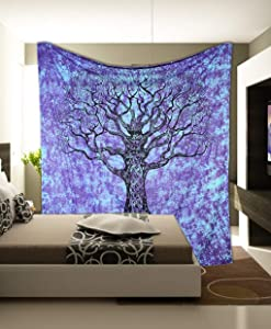 Marubhumi Psychedelic Mandala Tapestry Hippie Hippy Tie Dye Wall Hanging Beach Throw Tapestries Picnic Sheet Wall Decor Wall Art Bedroom Decor (Purpel Sky, Poster, 30 x 40 Inches)