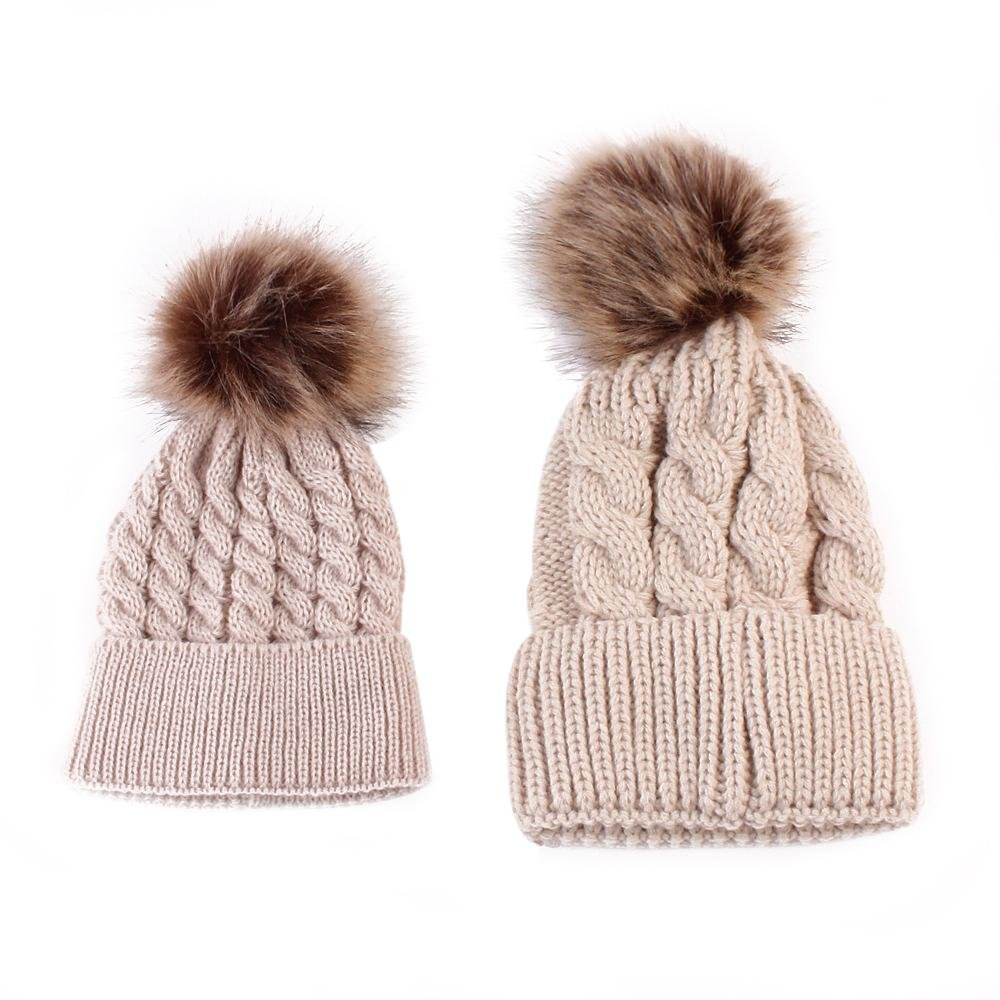 niceEshop(TM) Mom and Baby Winter Wool Knitting Beanie Fur Pom Bobble Hats