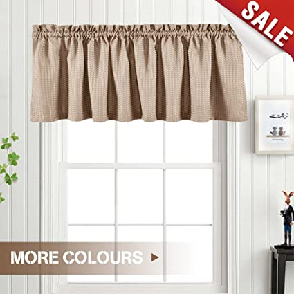 Charmant Waffle Woven Valance Waterproof Kitchen Window Curtain Sets (60 By 18 Inch,