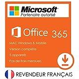 Office 365 - Compte Microsoft Office 2016 valable à vie pour 5 appareils 32/64 bit pour PC/Mac et 5Tb Onedrive - Version complète FRANÇAIS - Livraison gratuite par email avec guide d'installation de Office 2016