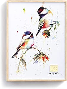 DEMDACO Chickadees Dropping in Watercolor 8 x 6 Wood and Canvas Decorative Wall Art Sign