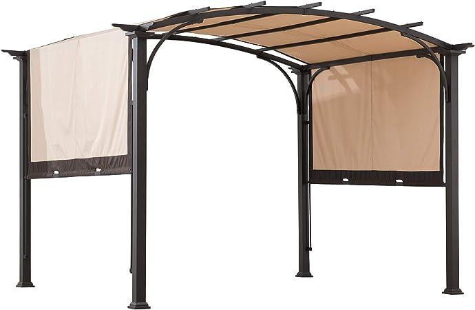 Sunjoy A106005400 Lindt - Pérgola arqueada de acero con pantalla ajustable en 2 tonos, color marrón y marrón: Amazon.es: Jardín