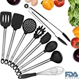 Silicone Kitchen Cooking Utensils Set for Nonstick, Umite Chef 9 PCS Stainless Steel Silicone Utensil Sets, Turner, Spaghetti Server, Skimmer, Spoon, Spatula, Ladle, Food Tong, Whisk, Pancake Turner
