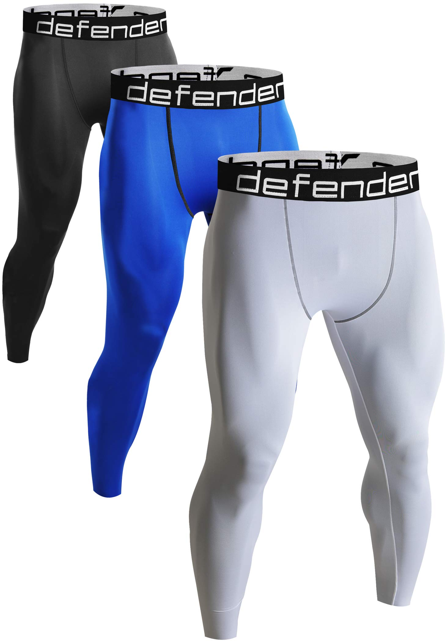 Defender Men's 3Pack Sports Compression Pants Under Jerseys Tights Shorts Fits Football BBBLWH_L by Defender