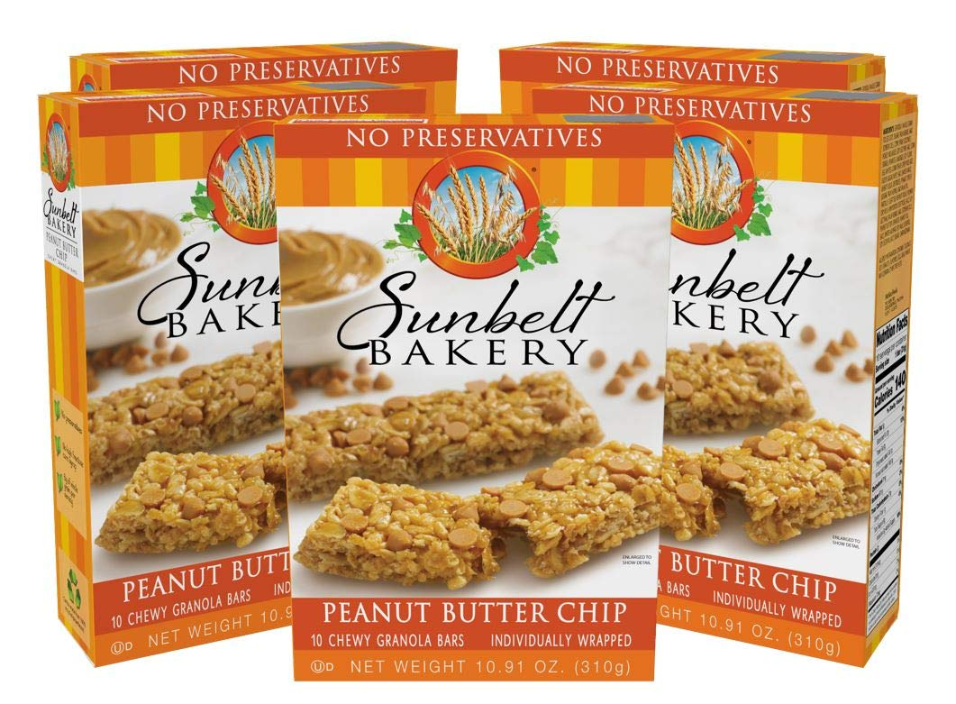 Sunbelt Bakery Peanut Butter Chip Chewy Granola Bars, 5 Boxes, 50 Individually Wrapped Bars