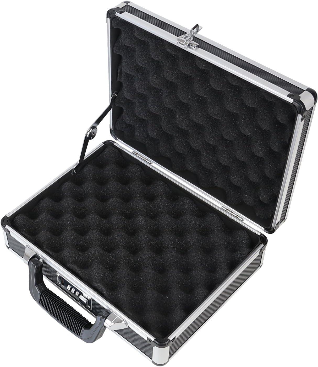 HMF 14401-02 Maleta de Aluminio para Pistolas con Cerradura de Combinación | 31 x 26 x 11 cm | Negro