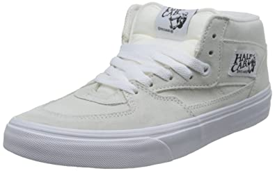 015e44ca3c41 Vans Unisex Half Cab (Suede) White and True White Leather Sneakers - 7 UK
