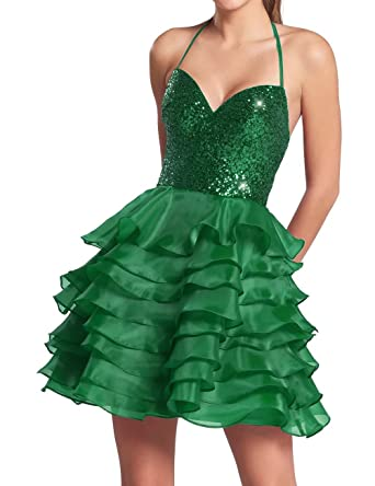 AiniDress Homecoming Dresses Short Organza Halter Sequin Cocktail Party Prom Dresses Green Size 16