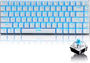 LexonElec 82 Key Mechanical Keyboard Metal Mechanical Wired Usb Blue Switch Computer Gaming Keyboard With Blue LED Backlit For Computer Gamers (Blue Switch, White)