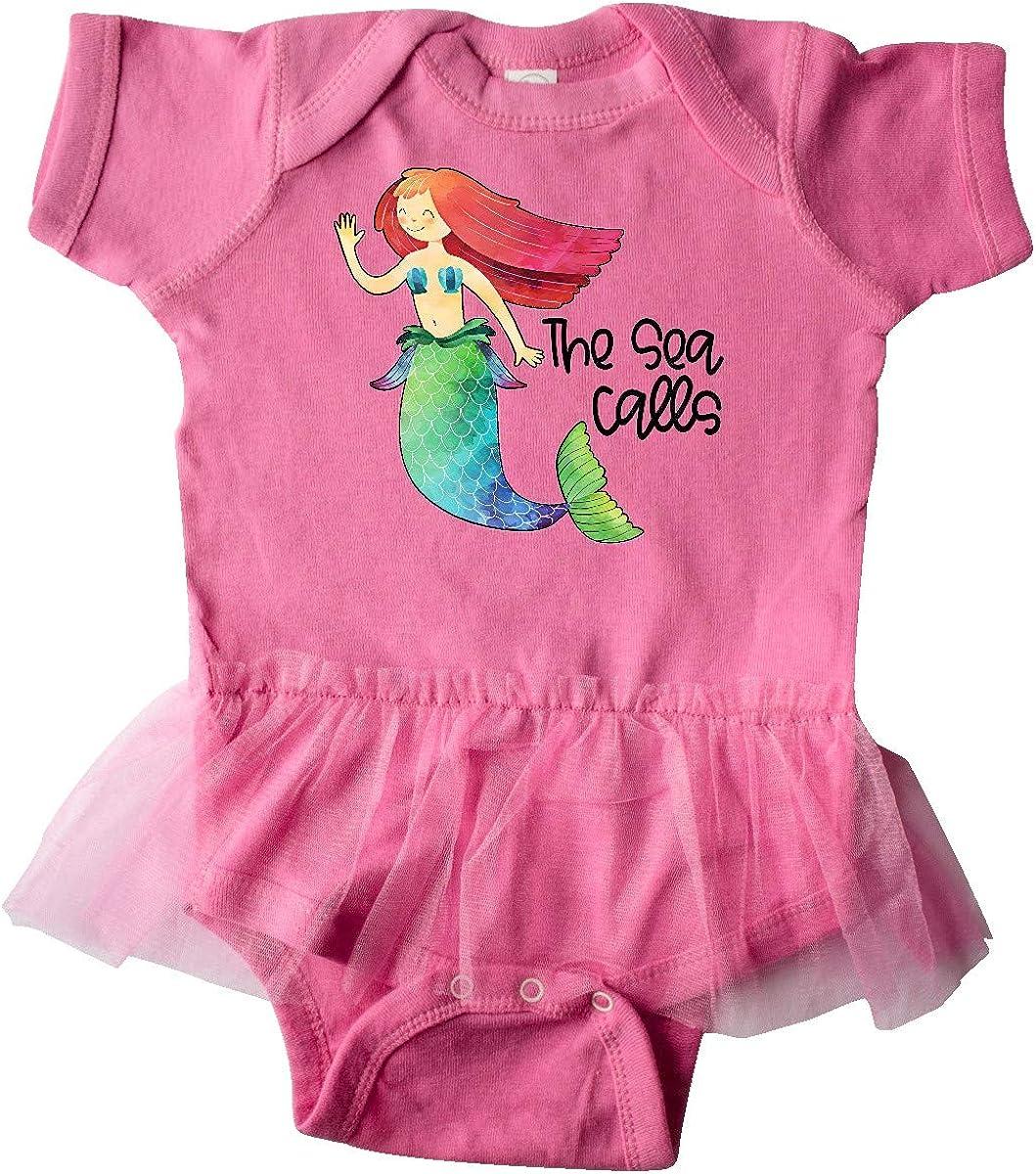 inktastic The Sea Calls Mermaid with Red Hair Infant Tutu Bodysuit