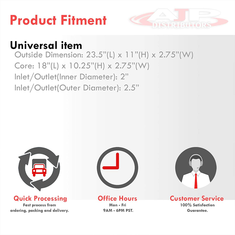 AJP Distributors Performance Upgrade Universal Tube Fin Turbo Turbocharge Top Mount Intercooler FMIC Racing JDM Sport 23.5 X 11 X 2.75 Aluminum High Flow Light Weight