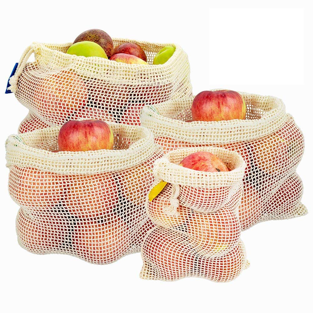 Reusable Produce Bags, Eco-Friendly Organic Natural Cotton Mesh Bags Natural Cotton Mesh is Biodegradable for Fruit & Vegetables (1 Small - 2 Medium - 1 Large)
