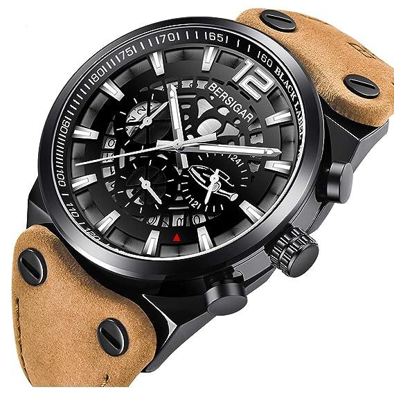 taglia 40 01a1b fd27b BERSIGAR Orologio al quarzo analogico al quarzo con cinturino in pelle con  cinturino in pelle di lusso