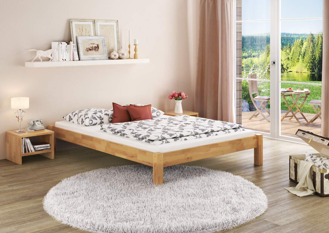 Erst-Holz/® Doppelbett Ehebett Kingsize-Bett Futonbett 160x200 Buche massiv mit w/ählbarem Zubeh/ör 60.84-16 Ausstattung:ohne Zubeh/ör