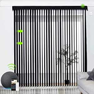 Yoolax Motorized Vertical Blinds Compatible with Alexa, Light Filtering Smart Window Blind Customized Size, Privacy Light Control Slats, Blackout Remote Electric Blinds for Home Office (Black)