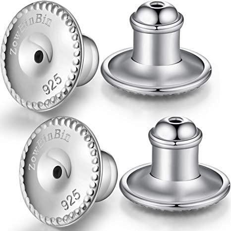 ZowBinBin Locking Earring Backs Secure Earring Backs for Studs Sterling Silver Hypoallergenic Simple Earring Backs