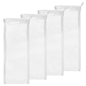 """Small Aquarium Mesh Media Filter Bags - High Flow 500 Micron - 3"""" by 8"""" with Drawstrings for Activated Carbon - Reusable Fish Tank Charcoal Filter Bag - Aquatic Bags for Fresh or Saltwater Tanks"""
