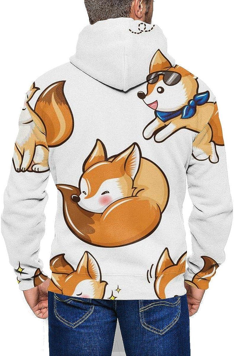 Mens Zipper Hoodies Sweatshirt Long Sleeve Coat with Pockets Set Fennec Fox