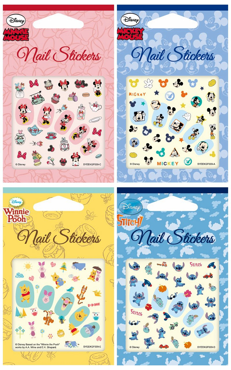 Disney Nail Art stickers Cartoon Decoration Mix 4-Pack (Multi Characters)